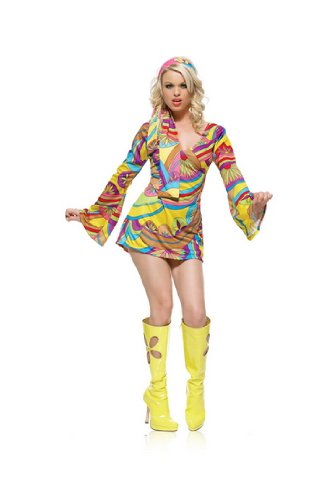 Retro Groove Sexy Adult Halloween Costume 60S 70S Go Go Dancer Disco Dress Bohemian Hippie Outfit Leg Avenue