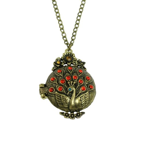 Rosallini Red Rhinestone Decor Peacock Pendant Twist Chain Opera Necklace for Ladies