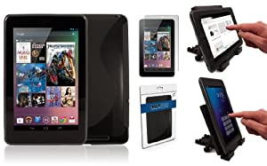 SD Tabletwear - Google Nexus 7 Black Gel Case - Includes Table Stand and Screen Protector
