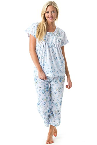 Casual Nights Women's Short Sleeve Floral Print Capri Pajama Set
