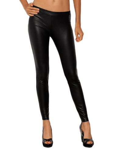 G by GUESS Women's Matte Liquid Leggings, JET BLACK (MEDIUM)