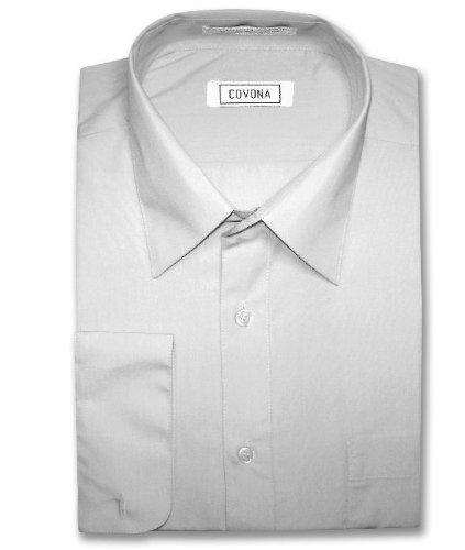 Men's Silver Gray Dress Shirt w/ Convertible Cuffs sz 18 1/2 36/37