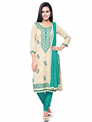 Kanchnar Women's Beige and Green Brasso Cotton Embroidered Party Wear Dress Material for Traditional Wedding Wear,Navratri Special Dress,Great Indian Sale,Diwali Gift to Wife,Mom,Sister,Friend