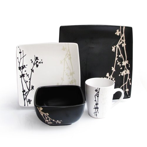 American Atelier Twilight Blossom 16-Piece Dinnerware Set, Brown