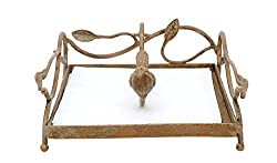 Shabby Chic Square Metal Napkin Holder with Bird Weight