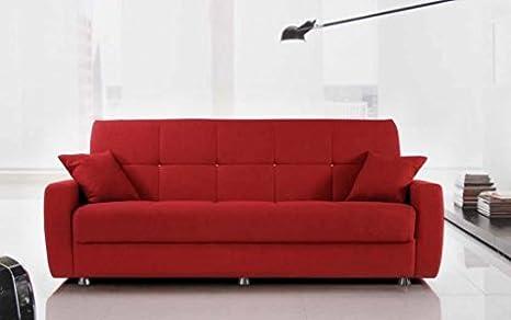 Divano letto 3 posti tessuto o ecopelle vari colori con contenitore - finitura tessuto-rosso-rain06