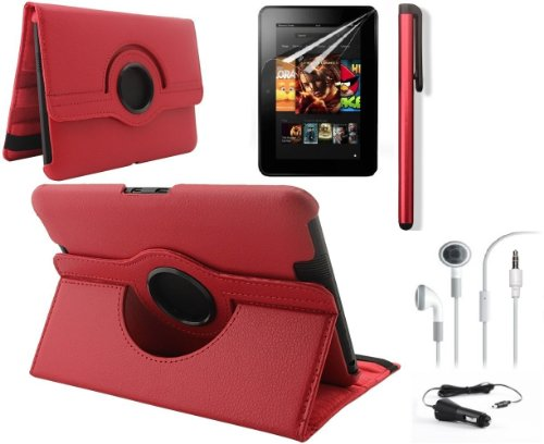 "Ruban (Tm) 360 Rotating Stand Pu Leather Case Cover / Screen Protector / Stylus / Earphone / Car Charger For Kindle Fire Hd 7"" 2012 Version Tablet (With Smart Cover Function: Automatically Wakes And Puts The Kindle Fire Hd To Sleep) (Hd 7 (Old Gen 2012),"