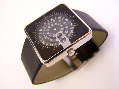 Slim Modern DESIGNER WATCH Retro Rotating Discs BLACK Jump Hour