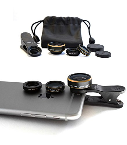 Phone Lens Camera Kit – Smartphones and Tablets Lens Kit for iPhone 6/6s/5 iPad,iPod, Samsung Galaxy S6/S5 Other Smartphones – 198° Fisheye Lens + 0.63x Wide Angle Lens + 15x Macro Lens (Gold)