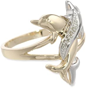 10k Two-Tone Gold Diamond-Accent Intertwined Dolphin Ring, Size 8
