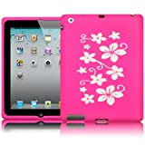 Apple iPad 3 White/Pink Flower Lasered Silicone Skin Case / Cover / Shell Part Of The Qubits Accessories Rangeby Qubits