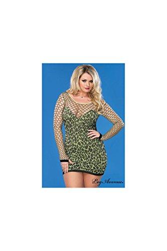 Leg Avenue Women'S Plus-Size Seamless Leopard Mini Dress, Neon Green, Plus Size