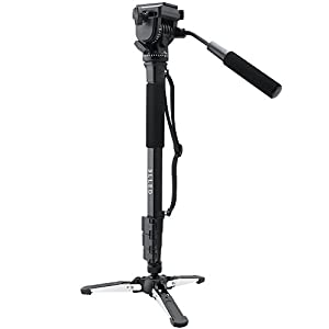 Monopod BLLED Photography Aluminum Tripod with Fluid Pan Head Quick Release Plate and Unipod Holder -Shoulder/Carrying Bag Included