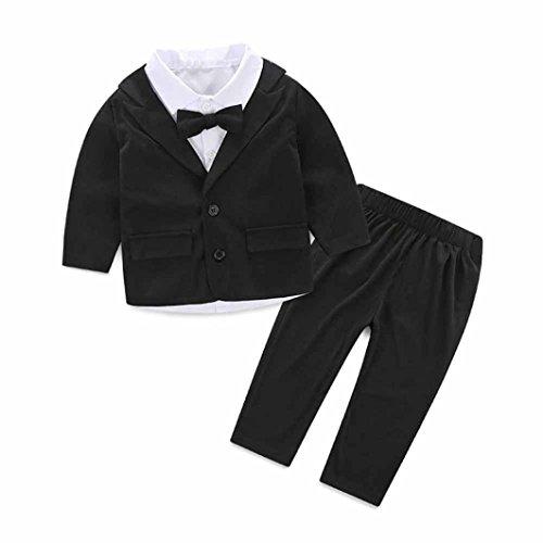 FEITONG 3pcs Kids Baby Boy's Gentleman Suit +Tie Shirt + Trousers Set (12 Months)