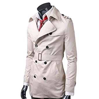 Buy Zicac Mens Casual Double Breasted Trench Blazer Coats Shirts Tops Outerwear by Zicac