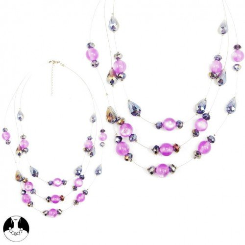 sg paris women necklace necklace 3 rows 55/45cm+ext comb purple glass