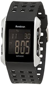 Armitron Men's 408177SIL Silver-Tone and Black Chronograph Digital Sport Watch