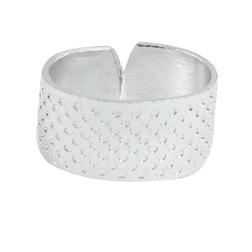 Amico Sewing Reeded Texturing Star Pattern Thimble Ring Silver Tone