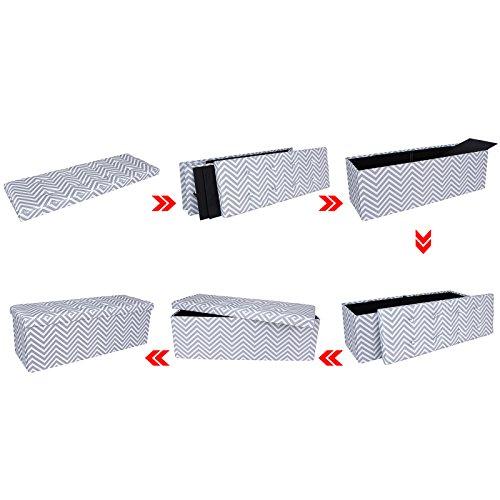 Folding Foyer Bench : Songmics folding storage ottoman bench foot rest seat w
