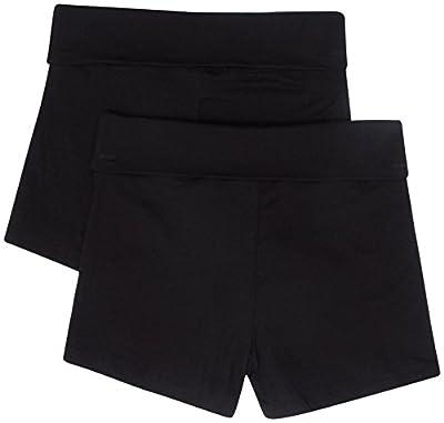 2 Pack Zenana Women's Basic Solid Fold Down Athletic Yoga Shorts