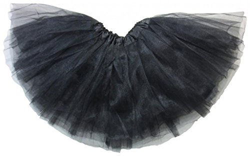 [Dancina Girl's Tutu Classic Ballet Soft Tulle Skirt One Size Black] (Four Group Costumes)
