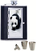 Panda Custom Personalized Printed 6oz Black Faux Leather Hip Flask