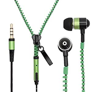 ZA eShop HIGH QUALITY IN-EAR ZIPPER STEREO HANDS-FREE EARPHONE WITH REMOTE + MIC FOR All type Of Mobile Wired Headset Green