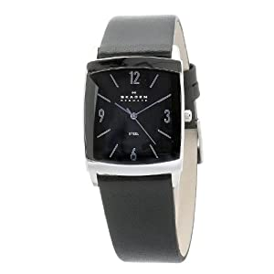 Skagen Designs Men's Quartz Watch with Black Dial Analogue Display and Black Leather Strap 691LSLB