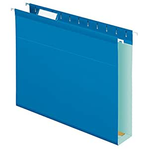 Pendaflex Extra Capacity Reinforced Hanging Folders, Letter Size, Blue, 25 per Box (4152X2BLU)