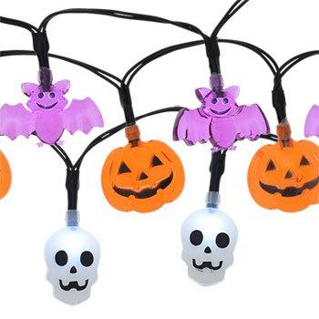 Purple Bats, Orange Pumpkins, White Skulls / Skeletons Character Halloween String Lights Sets Battery Operated 3 String Sets for a 9 ft Total Length