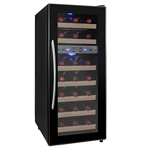 AKDY® 21 Bottle Dual Zone Thermoelectric Freestanding Wine Cooler Cellar Chiller Refrigerator Fridge Quiet Operation with Wooden Shevles (In Cabinet Wine Fridge compare prices)