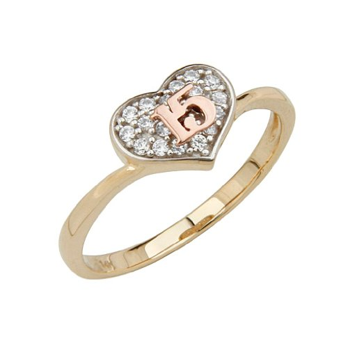 14K Yellow Gold High Polish Pave-Set CZ 15 Anos Quinceanera Heart Design Ladies Fashion Ring Band - Size 4