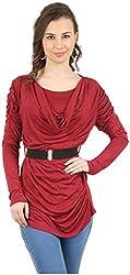 MANKA Women's Long Sleeve Top (MK-542M_M, Red, Medium)