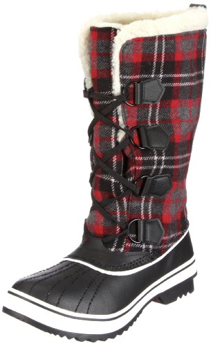 Skechers Women's Highlanders Klondike Black Red Fur Trimmed Boots 47306 4 UK