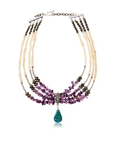 MINU Jewels Multi Beaded Necklace with Turq Stone Drop