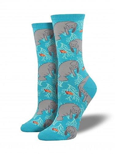 """Socksmith Womens Novelty Crew Socks """"Oh the Hu-manatee"""" - Bright Blue"""