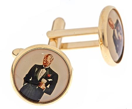 JJ Weston gold plated cufflinks with a Suave or Formal Gentleman image with presentation box. Made in the U.S.A