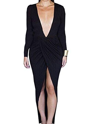 Vakind® Sexy Women Deep V Neck Bandage Long Sleeve Party Clubwear Maxi Dress (Xxl=Us10, Black)