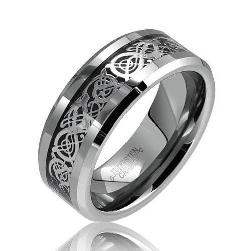Bling Jewelry Celtic Dragon Comfort Fit Black