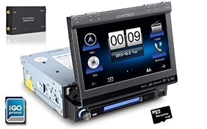ICARTECH - Aurora G7, Autoradio Navigation 1DIN TFT avec Box DVB-T TV - Le multitalent -Système de navigation multimédia avec trousse d'installation GRATUIT -USB DVD MP3 / SD -iGo Primo Navigation + Cartes d'Europe ,TMC inclus - Bluetooth ma
