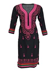 Aashvi's Women's Cotton Round Neck Kurti (ASH/K/43/ACE/9/006, Black And Pink, Large)