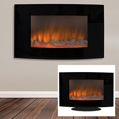 Best Choice Products Large 1500W Heat Adjustable Electric Wall Mount & Free Standing Fireplace Heater with Glass XL (Space Heaters Fireplace compare prices)