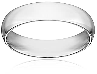 Men's 14k White Gold 5mm Comfort Fit Plain Wedding Band, Size 10.5