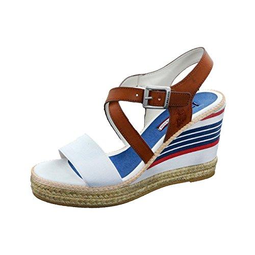 U.S. Polo Assn DORAS4084S6 Sandalo donna eco pelle tessuto (Bianco-36)