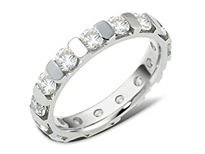 Sterling Silver, Multi Row Channel Anniversary Band, 2 7/8 cttw (sz 14)