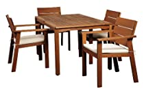 Hot Sale Amazonia 5-Piece Nelson Eucalyptus Rectangular Dining Set