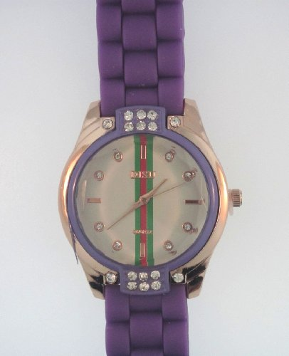 Purple Silicone Rubber Gel Watch Link Look Ceramic Style. Face With Crystals On Top And Bottom. Red, Green, Red Stripe Down Center Of Face.
