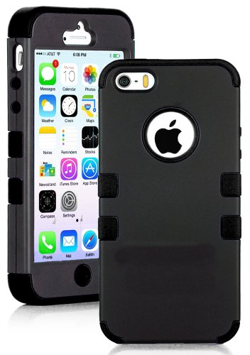 Mylife (Tm) Classic Black - Robot Series (Neo Hypergrip Flex Gel) 3 Piece Case For Iphone 5/5S (5G) 5Th Generation Itouch Smartphone By Apple (External 2 Piece Fitted On Hard Rubberized Plates + Internal Soft Silicone Easy Grip Bumper Gel + Lifetime Warra