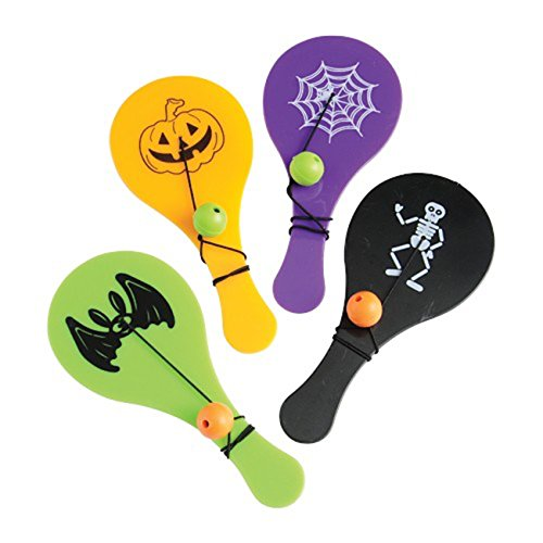 Lot Of 12 Assorted Halloween Theme Plastic Mini Paddle Ball Games