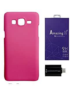 SAMSUNG Galaxy J2 PRINTZ Pink Hard Back Case Cover with OTG adapter and tempered glass Combo